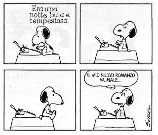 """Snoopy che scrive a macchina """"Era una notte buia e tempestosa"""" e poi si blocca, perché non riesce ad affrontare la pagina bianca"""